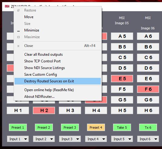 ZEN NDI Router - system menu options